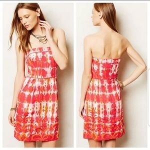 Anthropologie Tabitha Fresno Ikat Strapless Dress